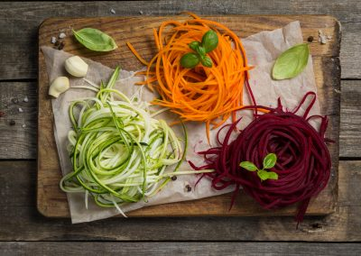 Vegetable noodles - zucchini, carrot and beetroot