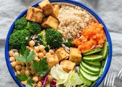 Colorful buddha bowl, healthy vegetarian salad